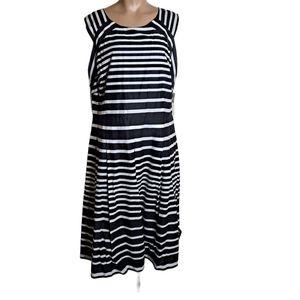 Talbots stripes dress midi black and white size 16